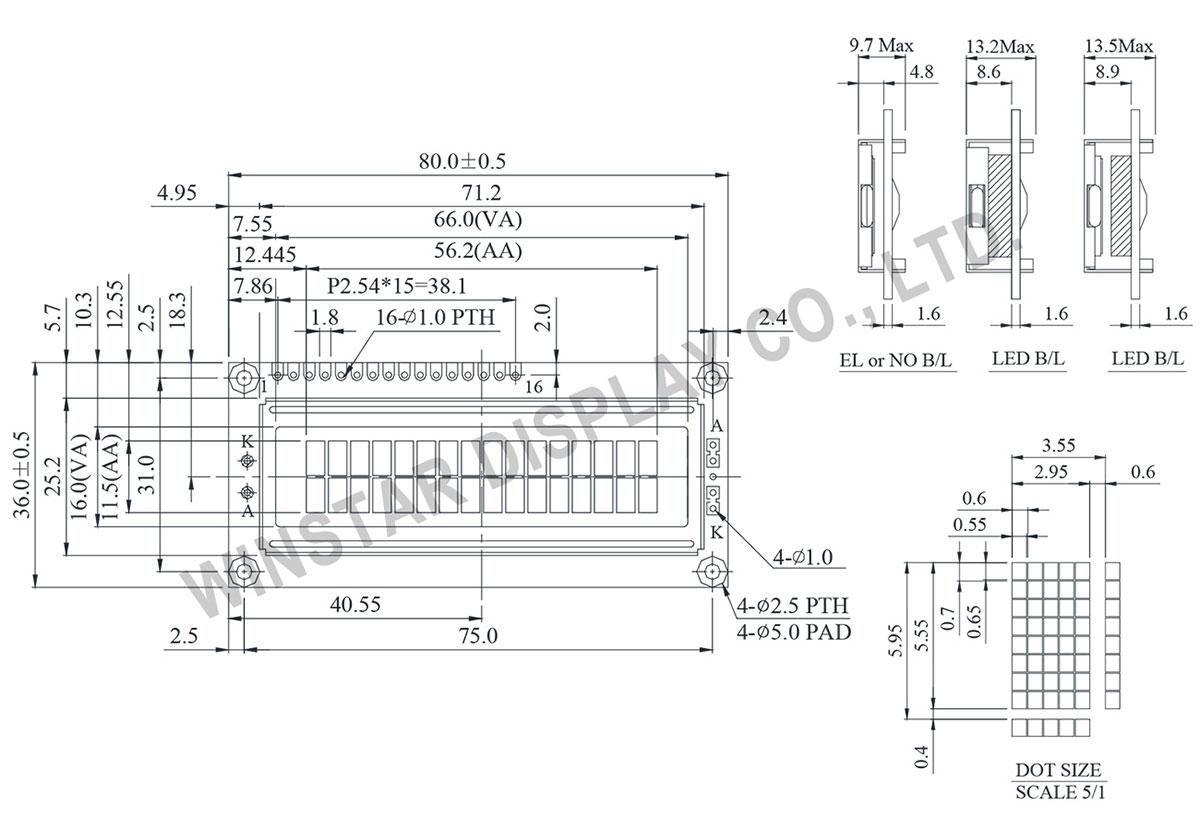 Display 16x2, LCD Display 16x2, LCD Module 16x2, LCD Display Module 16x2, Winstar Display LCD WH1602B