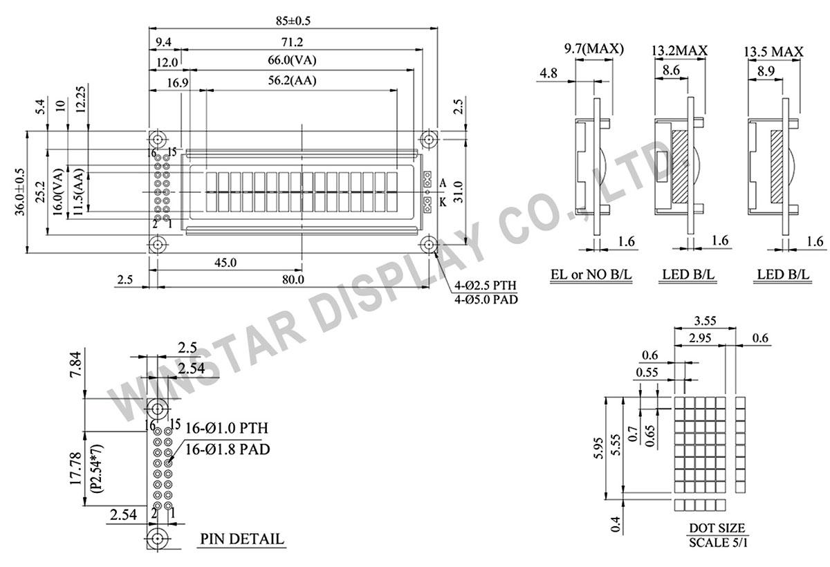 Winstar WH1602C 16x2 LCD Module, LCD Alphanumeric Display, Alphanumeric LCD Display Module