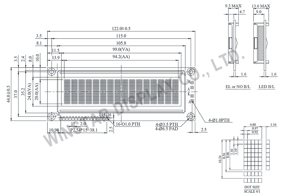 Winstar WH1602L1 16x2 Character Dot Matrix LCD Module