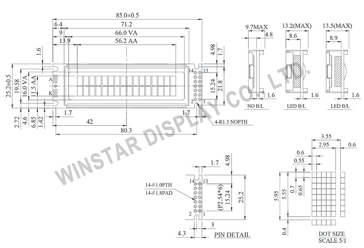 Winstar WH1602O - Mono LCD Character Display 16x2