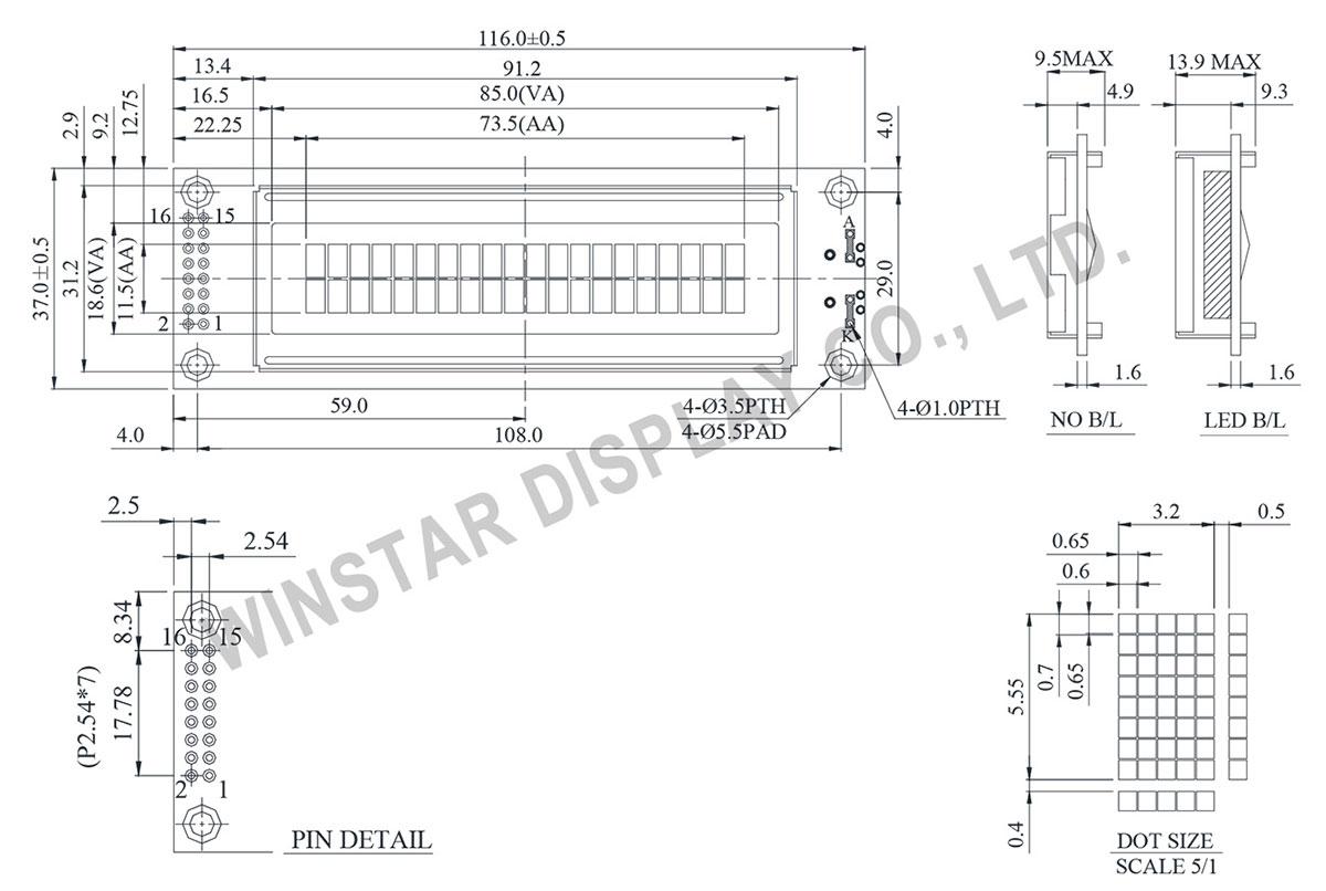 Winstar WH2002A - LCD 20x2, LCD Display 20x2, Display 20x2, Display LCD 20x2
