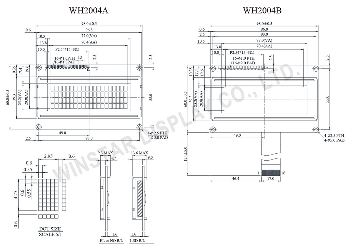 Winstar WH2004A Character Module 20x4