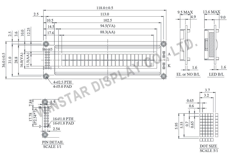 Winstar WH2402A - LCD 24x2, Display LCD 24x2, LCD Display 24x2