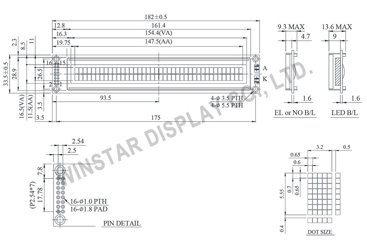 WH4002A Character Display LCD 40x2, LCD 40x2, 40x2 LCD, 40x2 LCD Display, Display 40x2