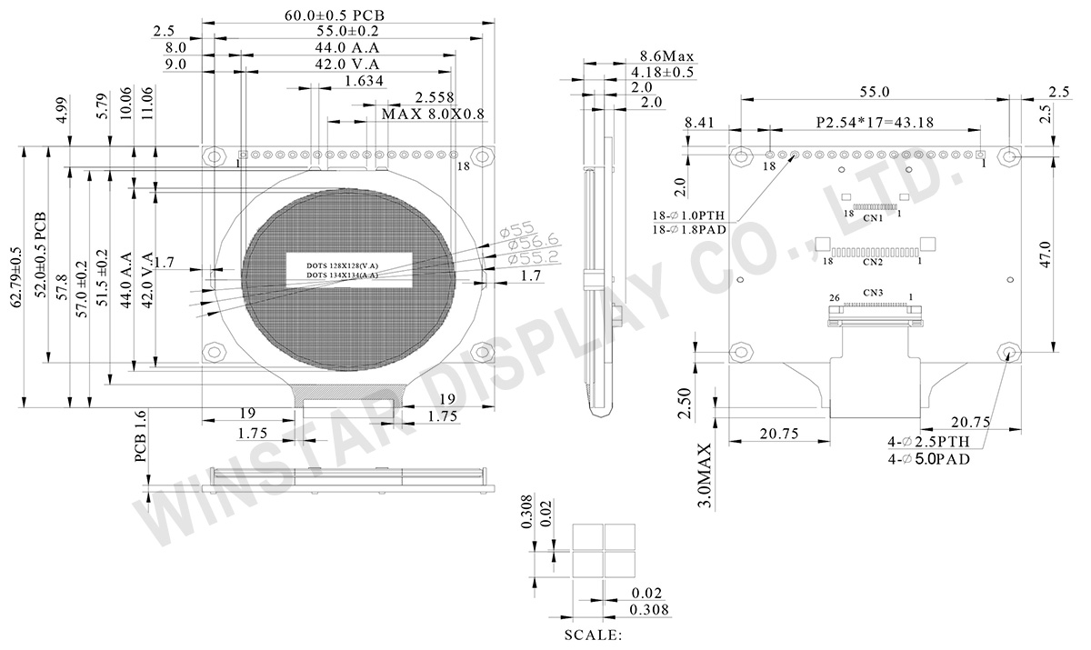 Round LCD, Round LCD Display Module, Round LCD Panel, Round LCD Screen - WO128128A2
