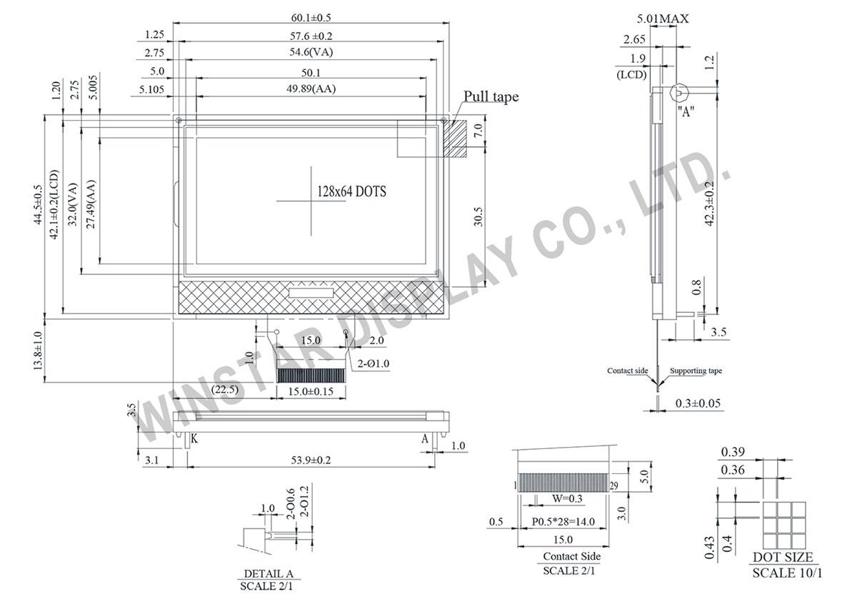 Winstar WO12864A1 128x64 COG LCD Module