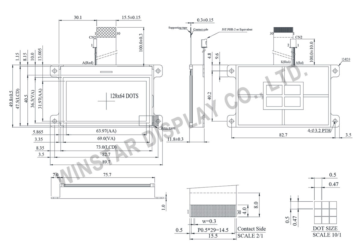 Winstar WO12864B 128x64 COG LCD Modules
