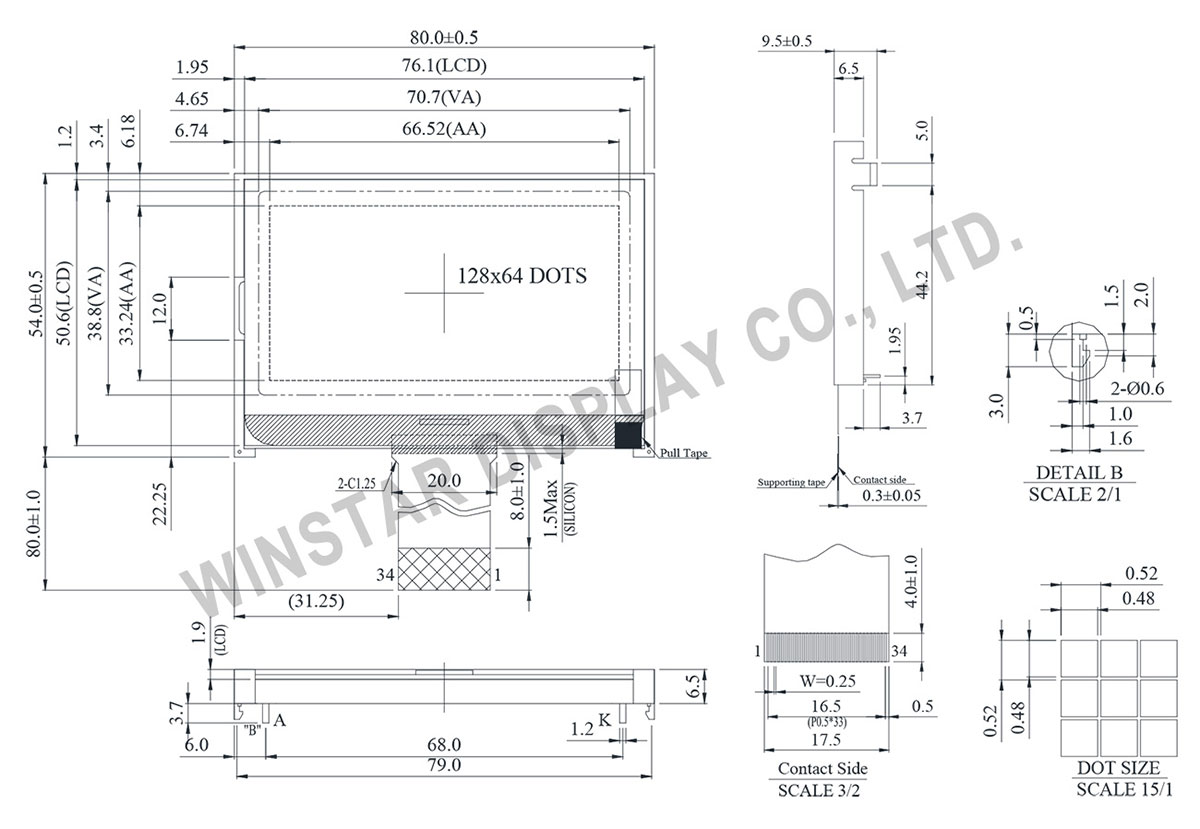 Winstar WO12864D3 - 128x64 COG Displays (Chip on Glass Display)