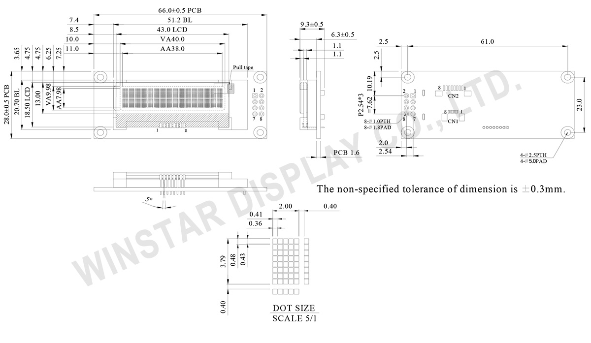 16 Characters x 2 Lines COG LCD Display - WO1602I3 / WO1602I5