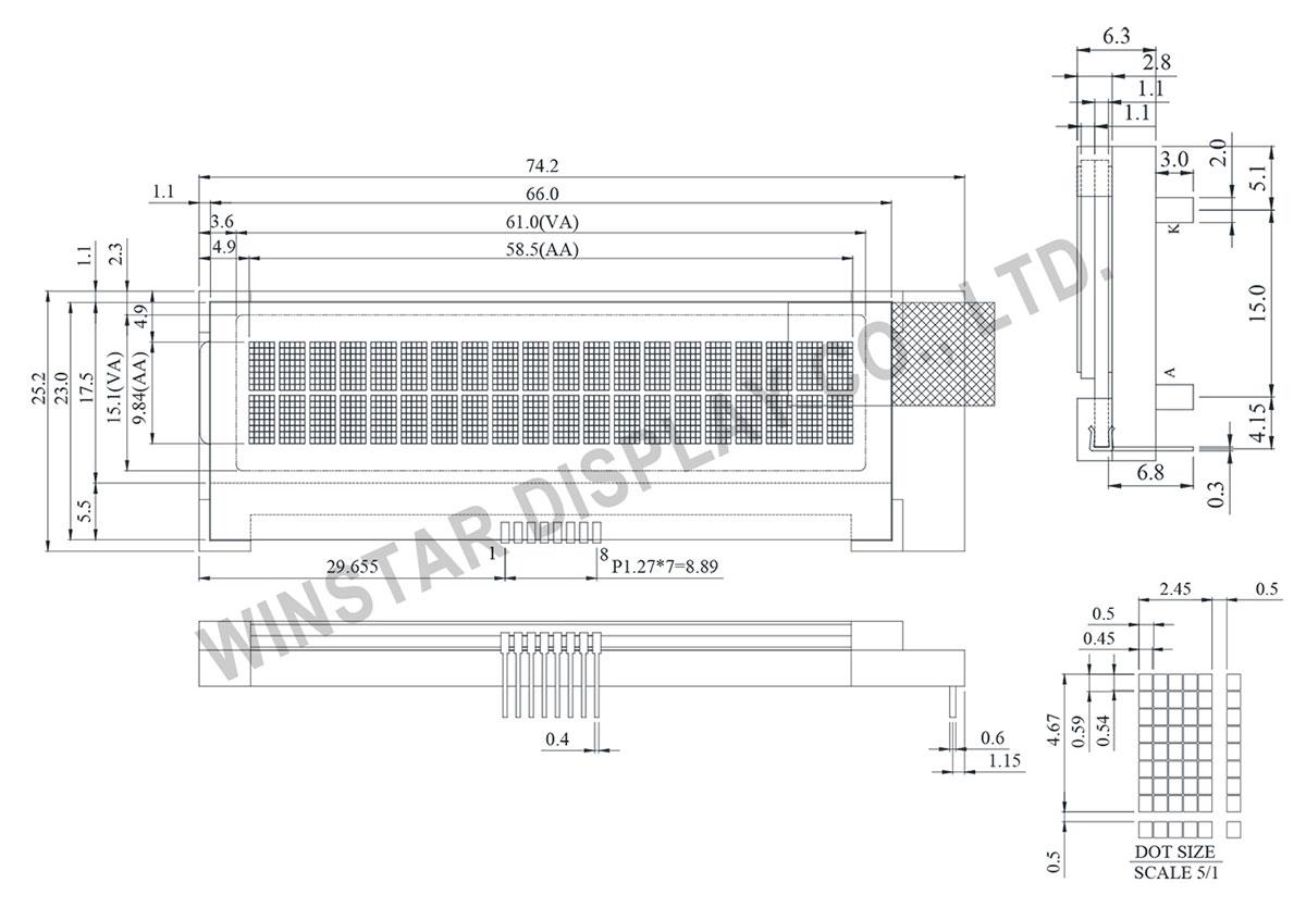 Winstar - WO2002A 20x2 COG LCD Module, 20x2 LCD Display