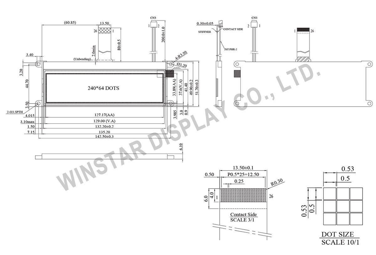 COG Display LCD 240x64 - Winstar WO24064B