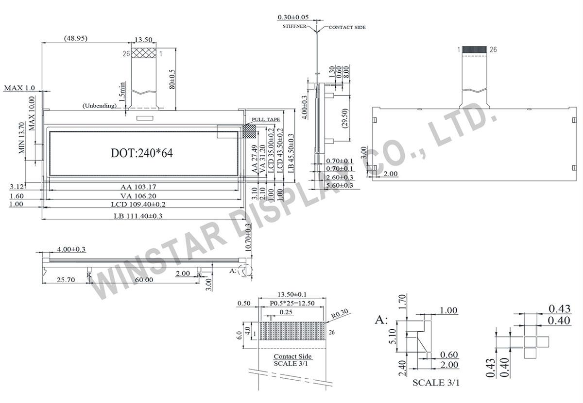 华凌光电发表的型号WO24064C STN COG 240 x 64图形模组外形尺寸为111.4 x 45.5 mm, AA 区尺寸为103.17 x 27.49 mm。 WO24064C内置ST7586S-G4 IC,此模组支援6800/8080, 4 Line SPI 或3 Line SPI (optional)的接口。 WO24064C的操作温度是-20 to +70,储存温度为-30 to +80。