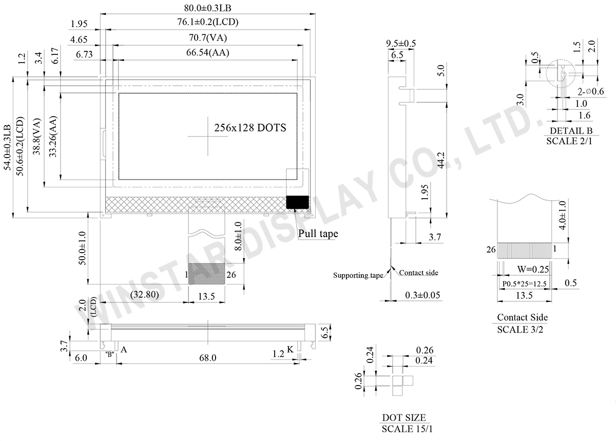 Graphic COG LCD 256x128, 256x128 LCD - WO256128A