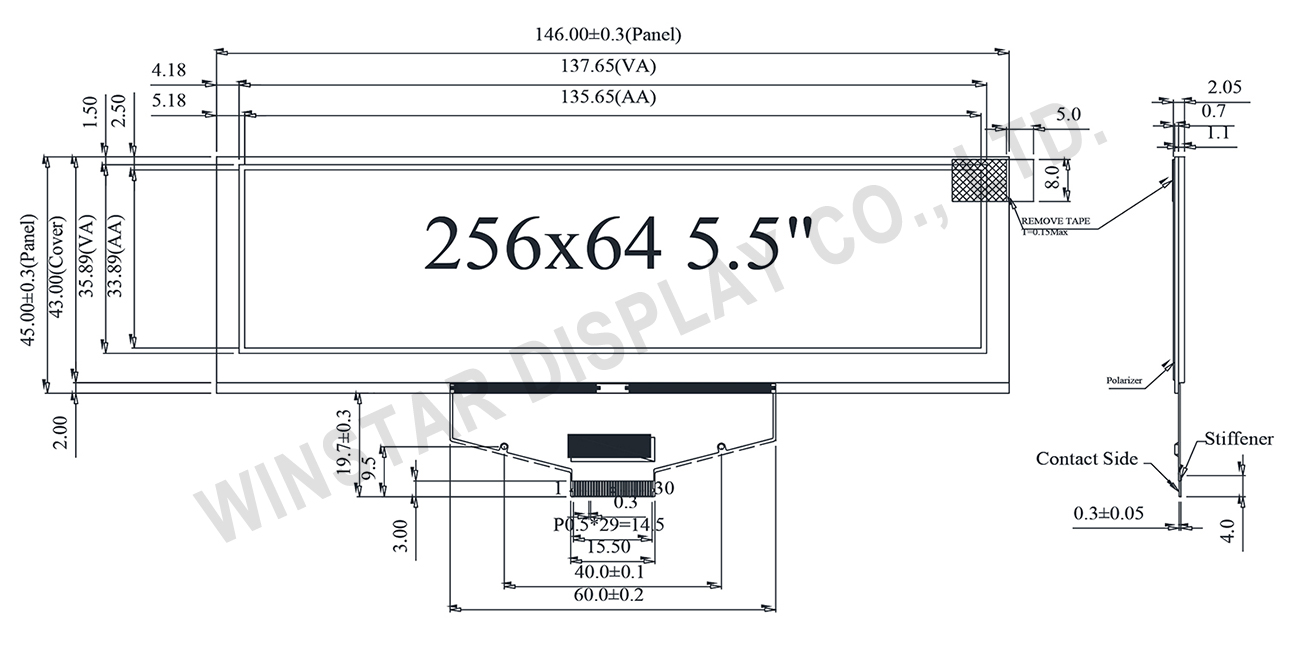 "5.5"" OLED LCD Module WEX025664D Spec."