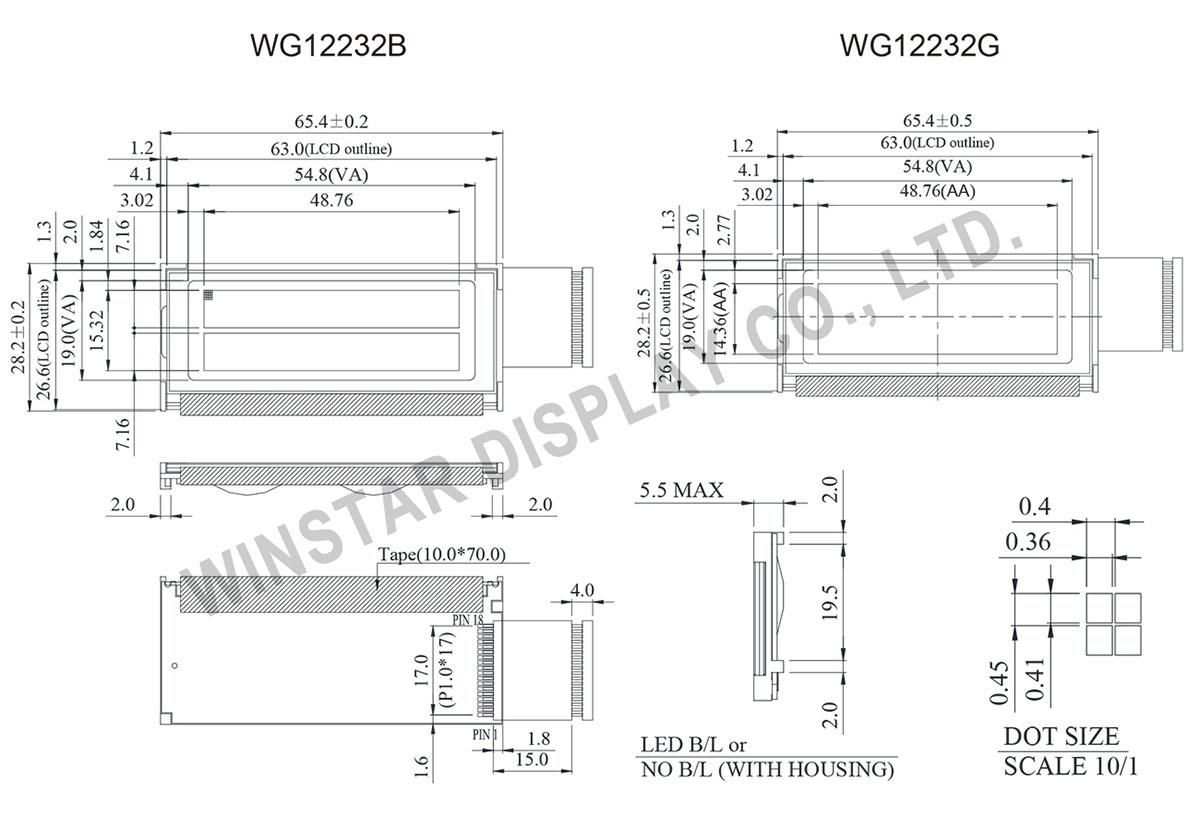128x32 LCD, 12832 Graphic LCD Display - WG12232G