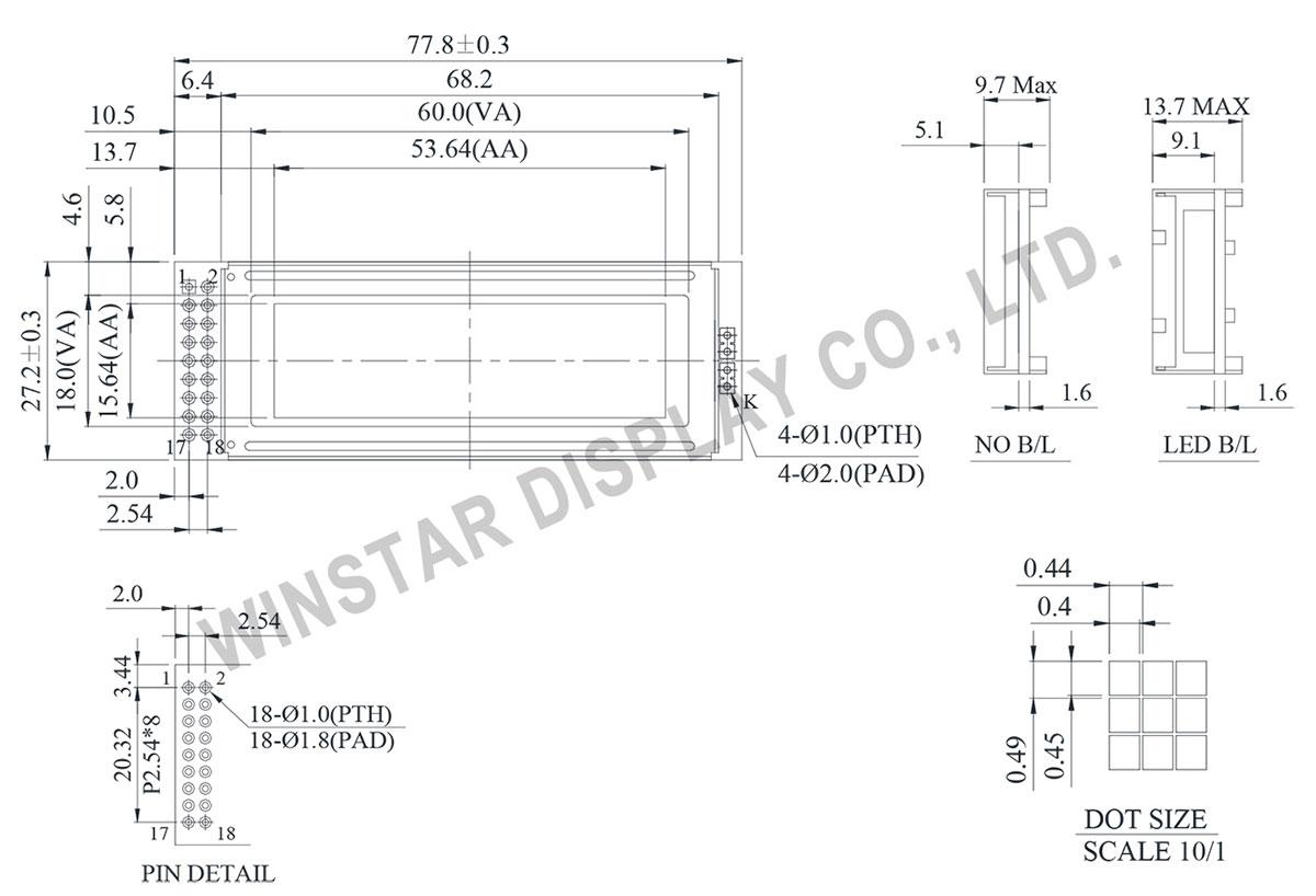 Winstar WG12232O 122x32 Graphic Displays