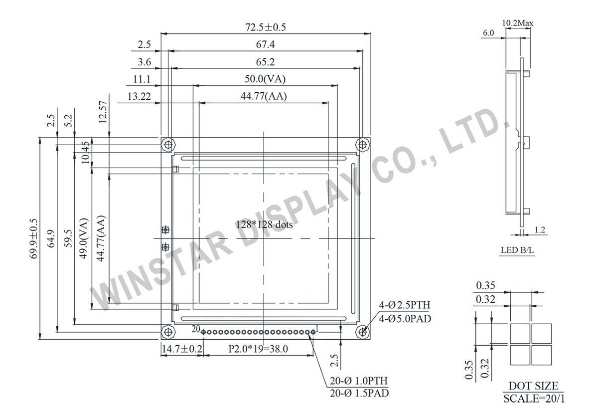 Winstar 128x128 lcd display, 128x128 lcd module, 128x128 lcd - WG128128I