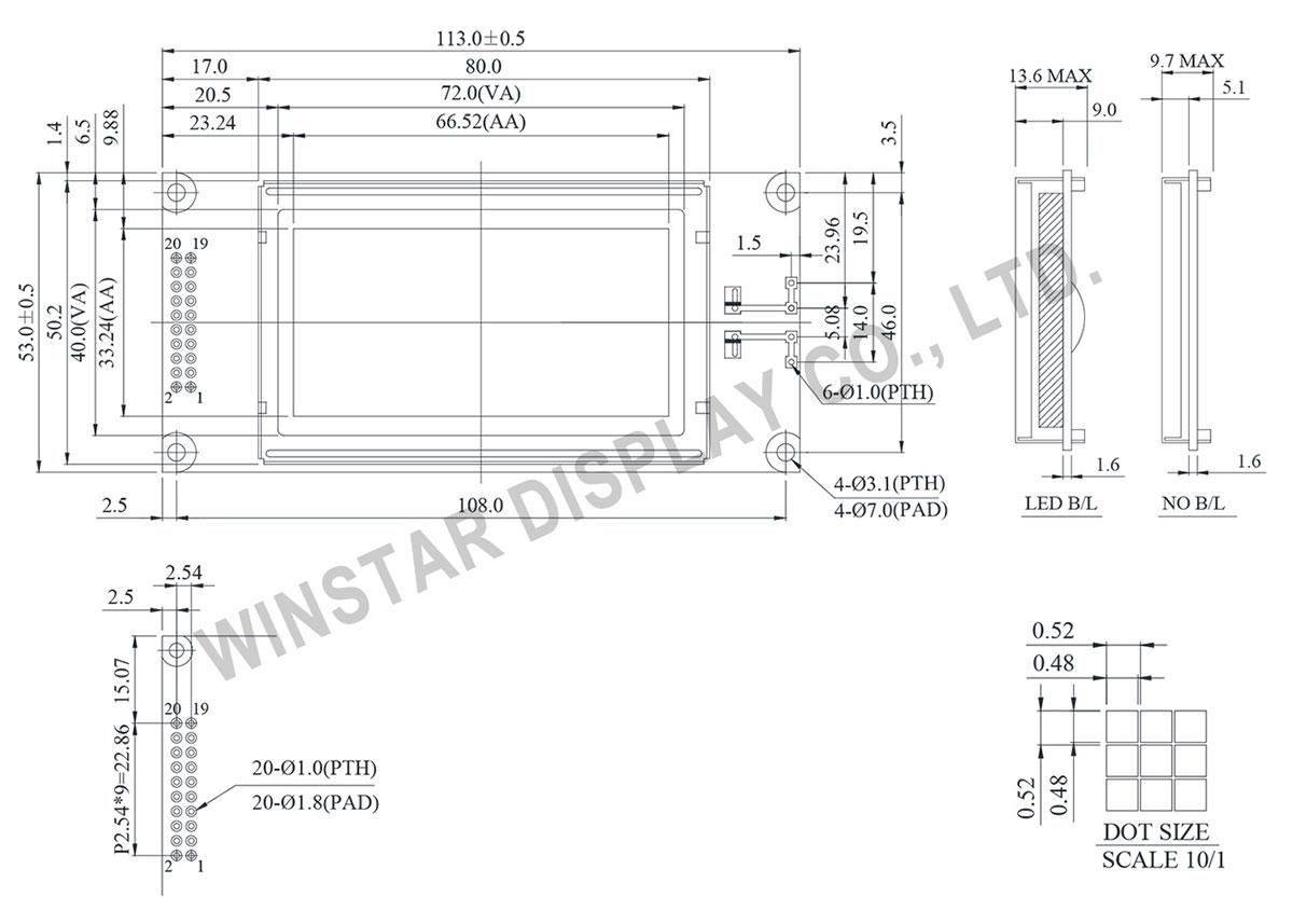 WG12864K型号华凌另一款COB结构的2.9吋单色128*64图形点阵液晶屏,液晶屏的外形尺寸为113x53mm, 视域尺寸72x40mm,AA区66.52x33.24 mm,华凌提供多款2.9吋的128x64 STN LCD图形供客户选择。 WG12864K内置NT7108控制器(或兼容IC), 支援6800 8-bit平行接口, 内置负压,此款型号有无背光及多色LED背光选择,玻璃有STN正显与负显及FSTN型LCD ,此款模组的操作温度是-20 ~ +70,储存温度为-30 ~ +80,所有物料