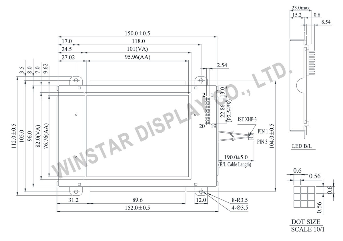 Winstar 160x128 LCD Display Graphic - WG160128C