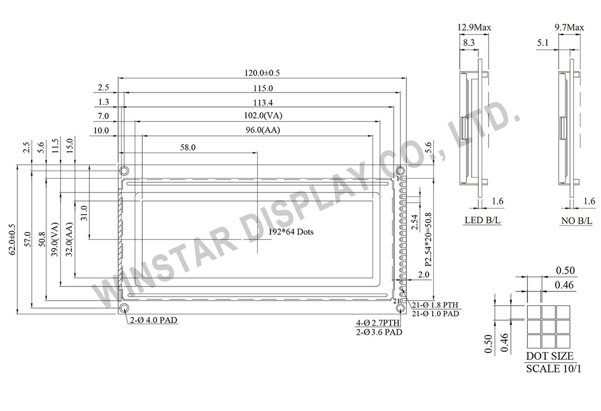 WG19264D - 192x64 LCD Graphic Displays Drawing