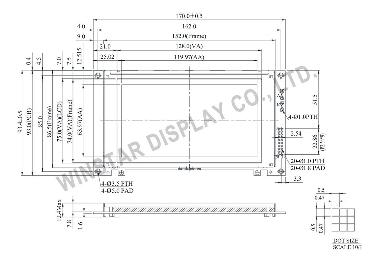 Winstar graphic lcd 240x128, lcd 240x128, lcd 240 128, lcd display 240x128, display 240x128 - WG240128A