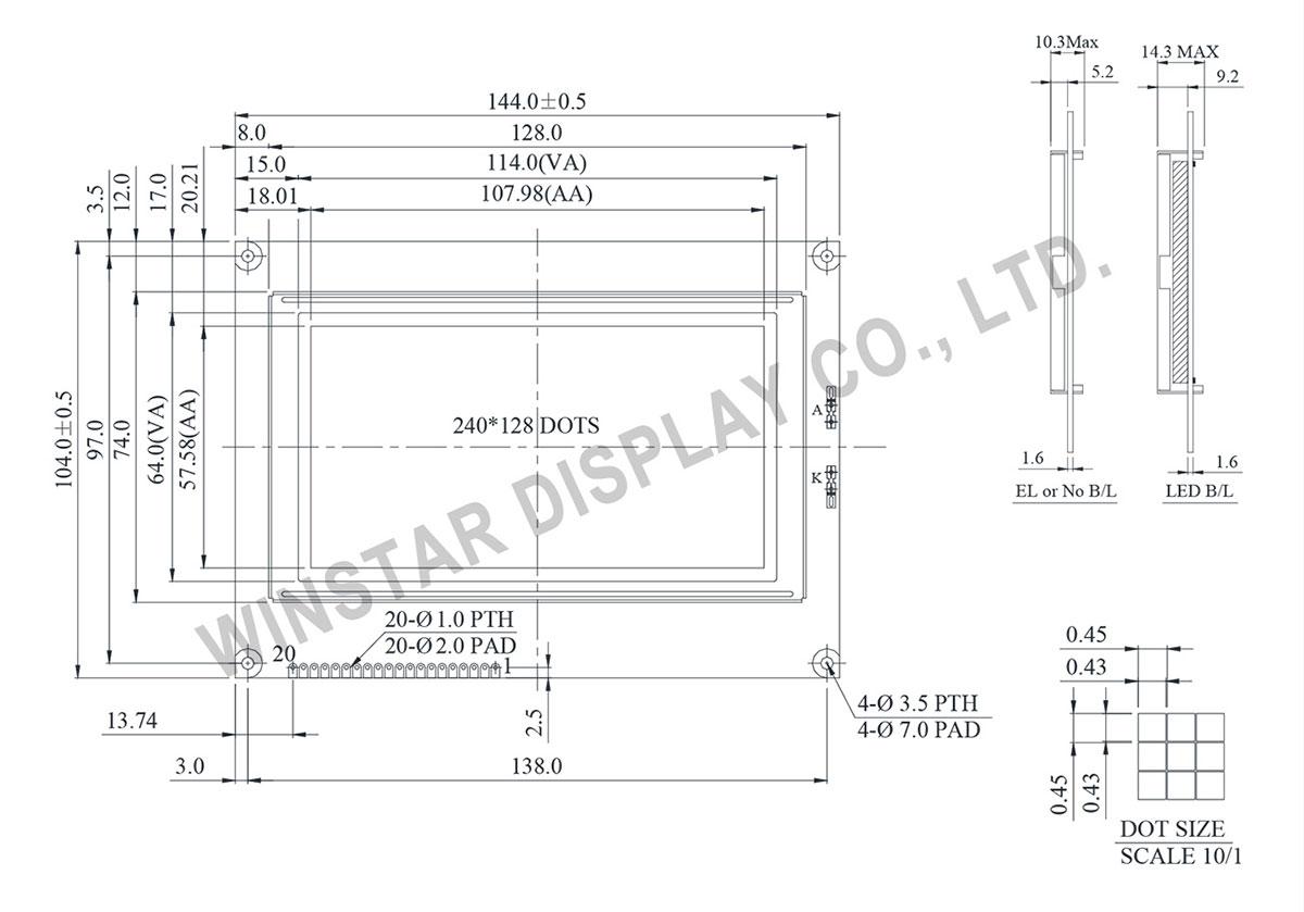 240x128 Graphic LCD, 240x128 LCD Module - Winstar WG240128B