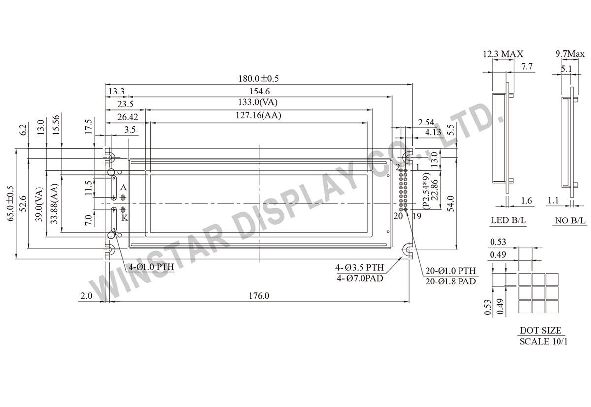 WG24064A 240x64 Graphic LCD, 240x64 LCD Display, 240x64 LCD Module, Display LCD 240x64