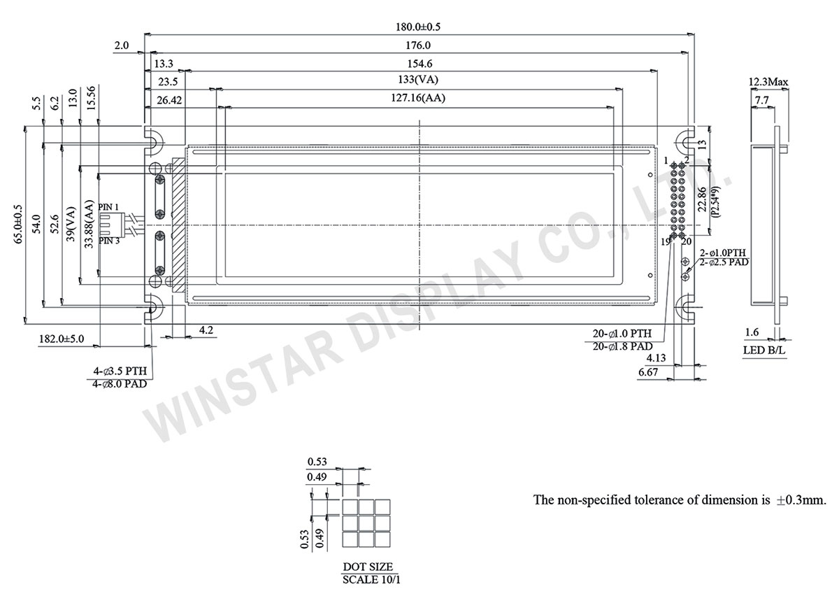 Winstar Graphic LCD Display 240x64 - WG24064C