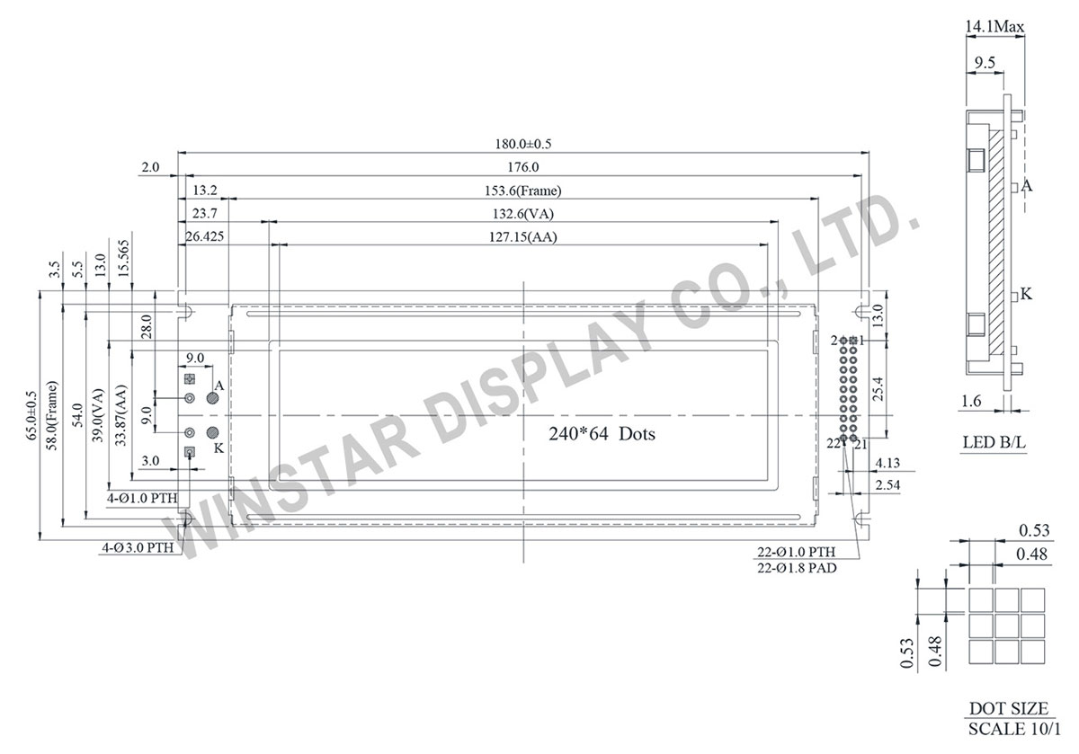 Winstar 240x64 Graphic LCD Display - WG24064J