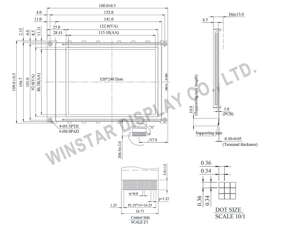 WG320240A - 320x240 Graphic Liquid Crystal Display Module