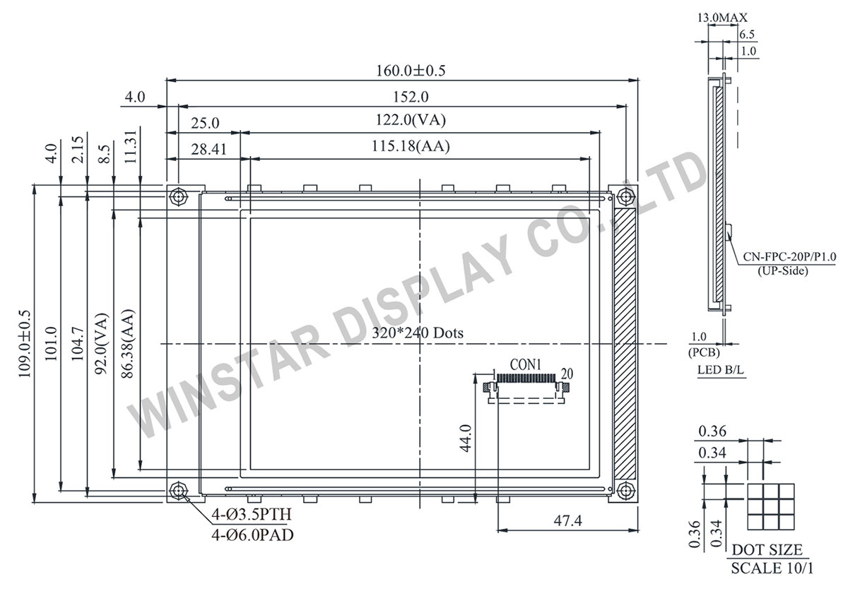 WG320240B0 Graphic Module 320x240 Drawing