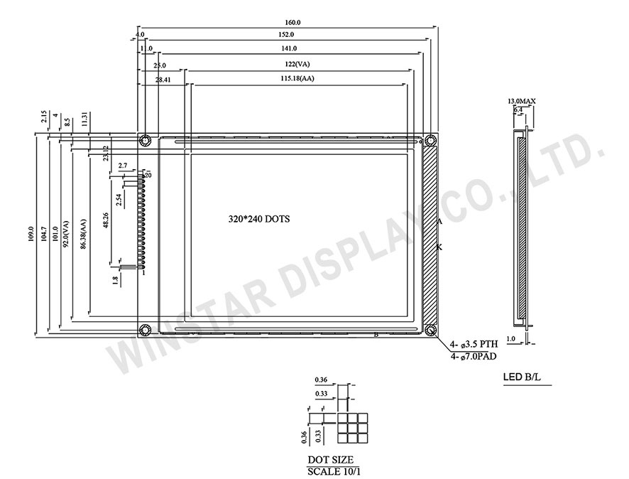 Display Graphic LCD 320x240, Display LCD 320x240, LCD Display 320x240 - WG320240BP2