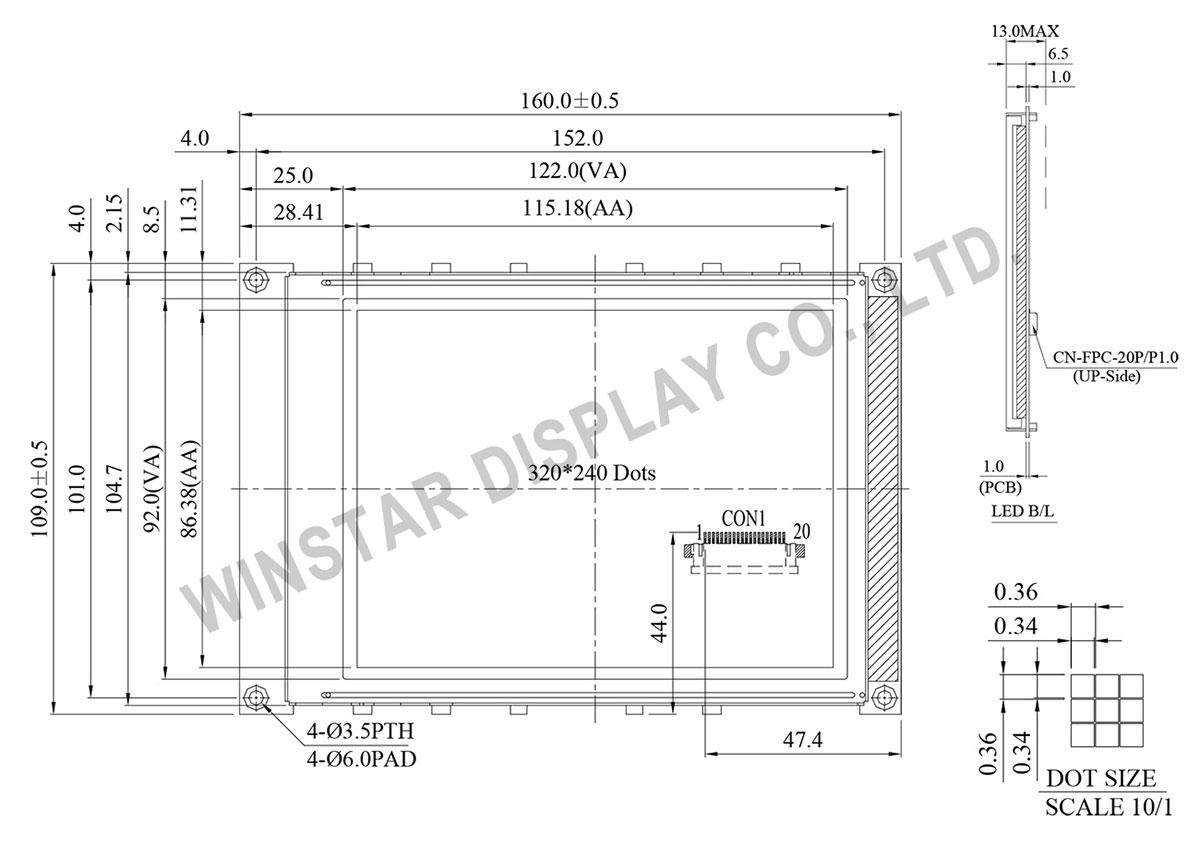 Winstar 320x240 LCD Module, WG320240BX 320240 LCD