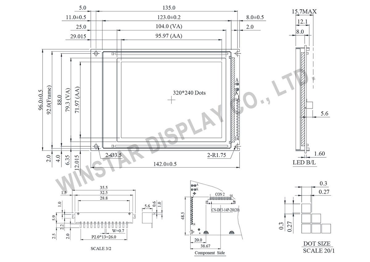 Winstar Graphic LCD Module 320x240 - WG320240D1
