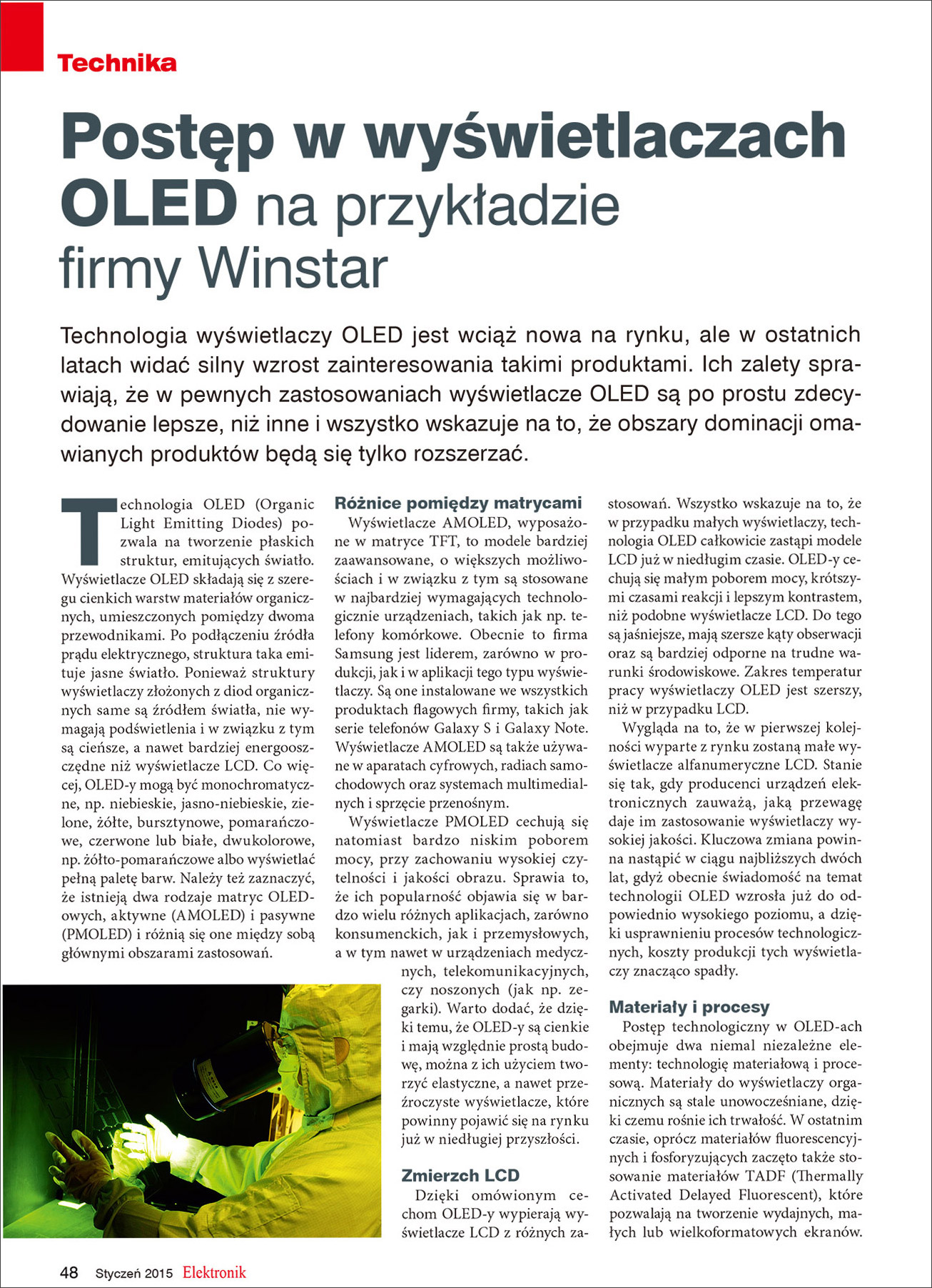 Elektronik Magazine - Publication Article (Winstar OLED) Page1