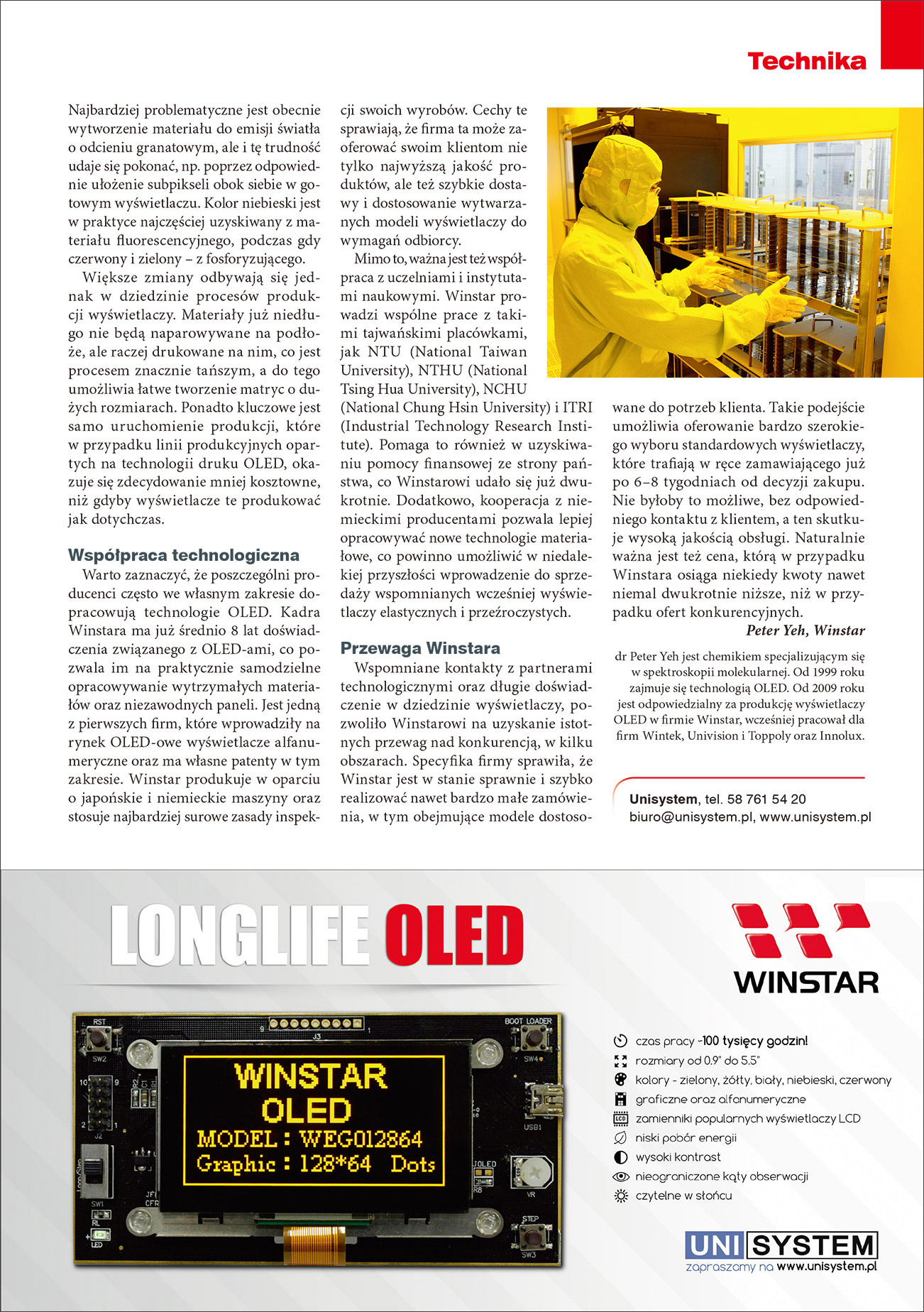 Elektronik Magazine - Publication Article (Winstar OLED) Page2