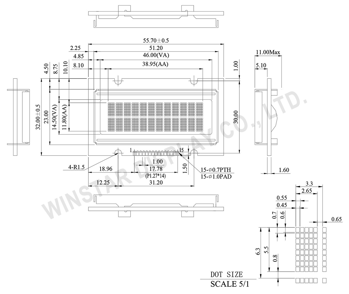 Winstar 12x2 OLED Character - WEH001202A