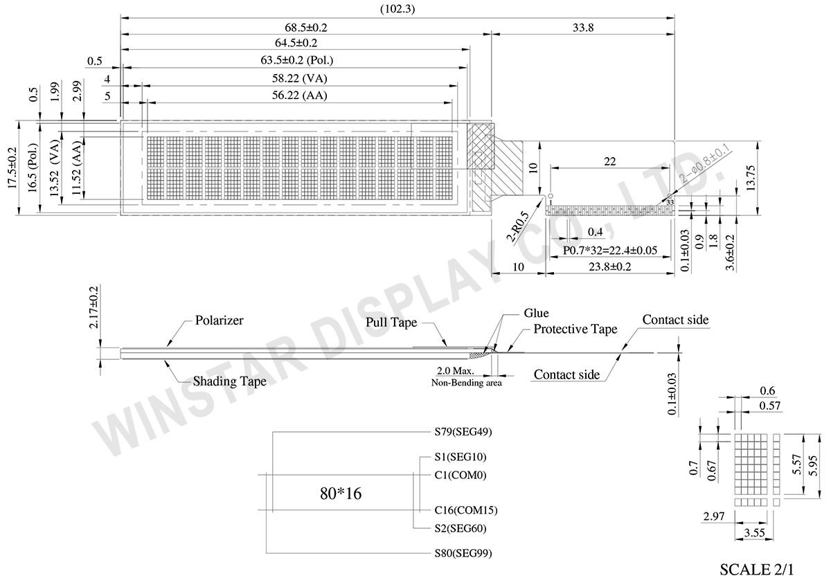 Winstar 16x2 OLED Display, Character OLED - WEO001602C