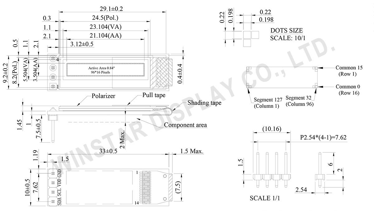 0.84 OLED Display (COG PCB) - WEA009616A - Winstar