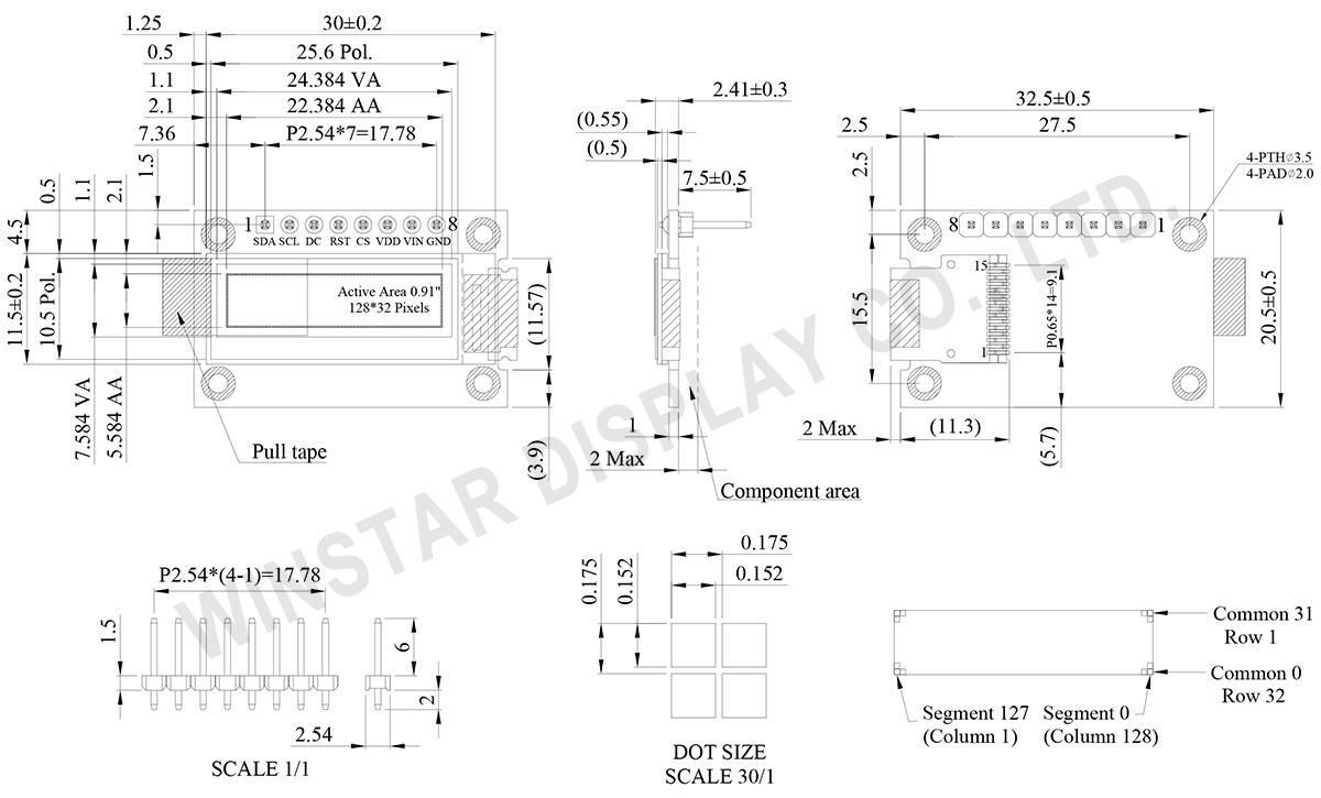 12832 OLED, 0.91 inch SPI, SSD1306 OLED Display (COG PCB) - WEA012832D - Winstar