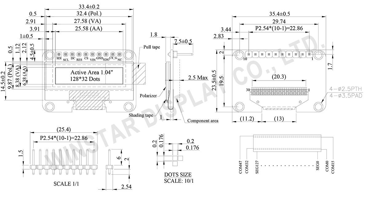 1.04 inch 128x32 OLED Graphic (COG+PCB) - WEA012832E
