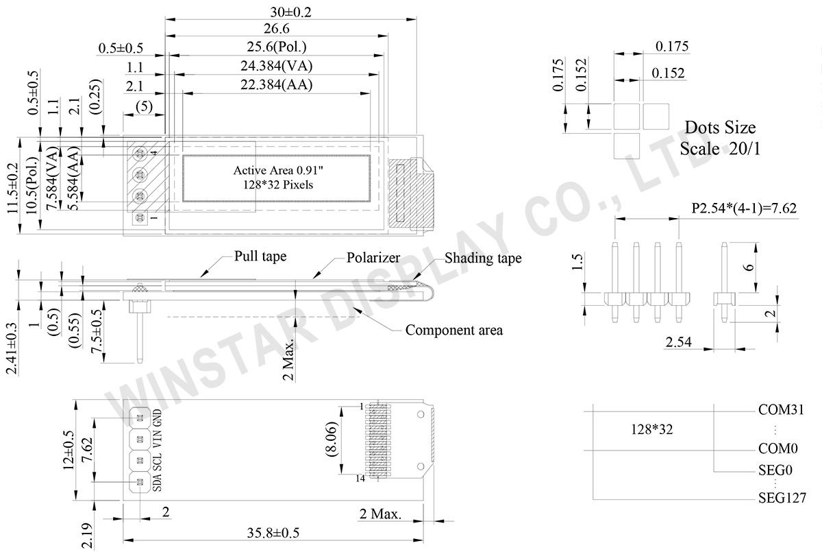 """0.91"""" COG+PCB Passive Matrix OLED 128x32 - WEA012832F - Winstar"""