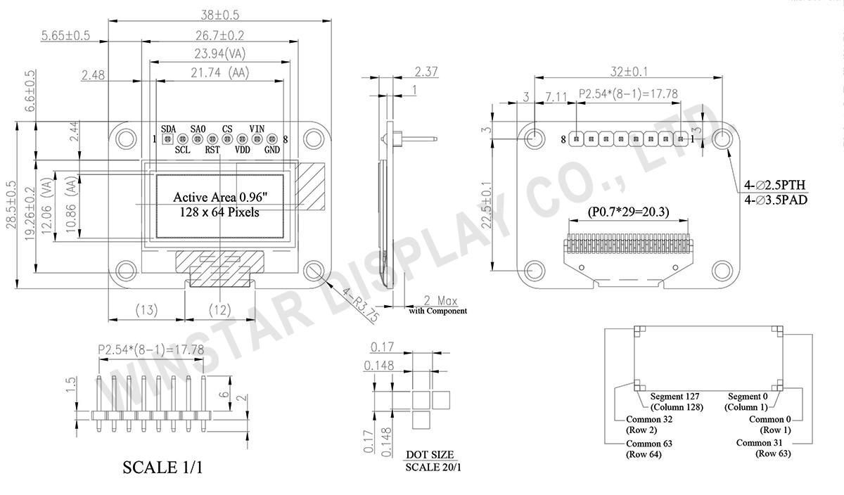 OLED 12864, 12864 OLED, OLED Display Module 12864, SSD1306 OLED, SSD1306 OLED Display, OLED 128x64 SSD1306