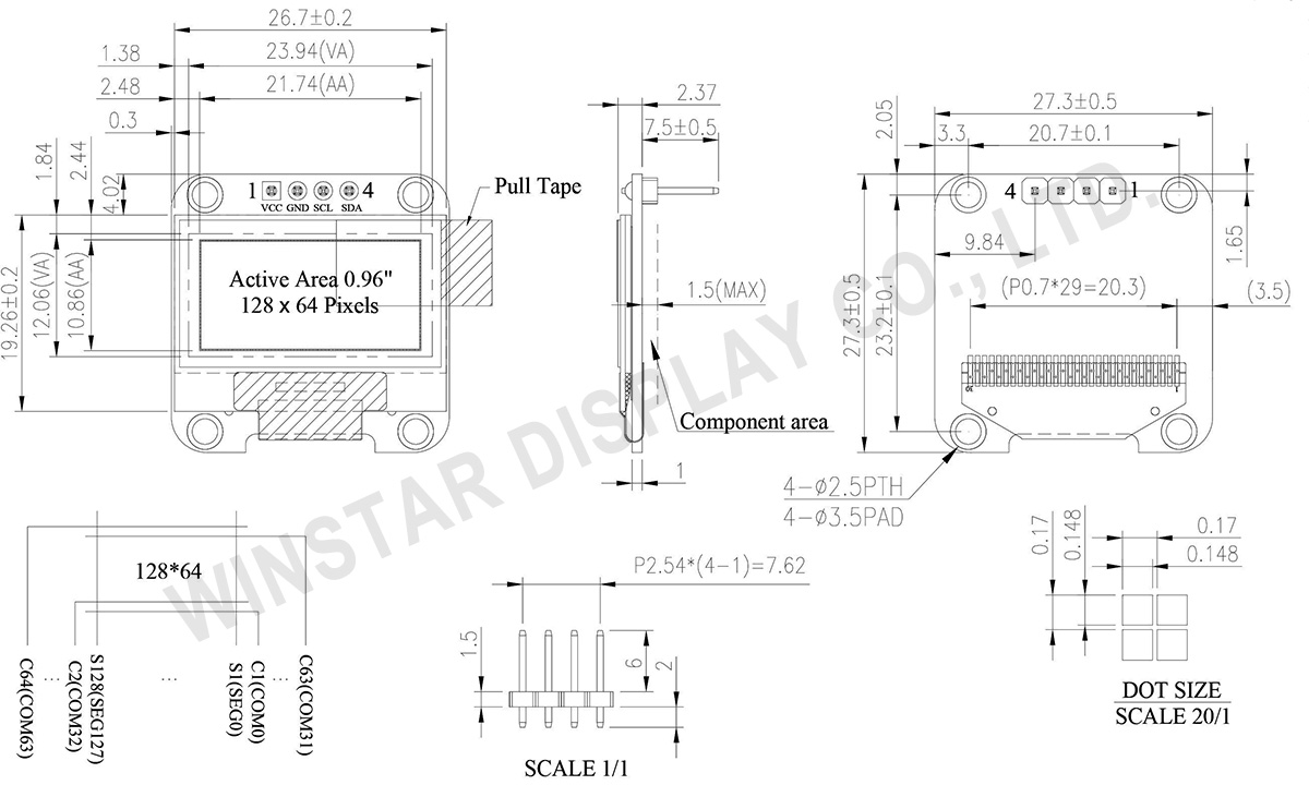 "4 Pin OLED Display (COG+PCB) 0.96"", 128x64 - WEA012864D-03"