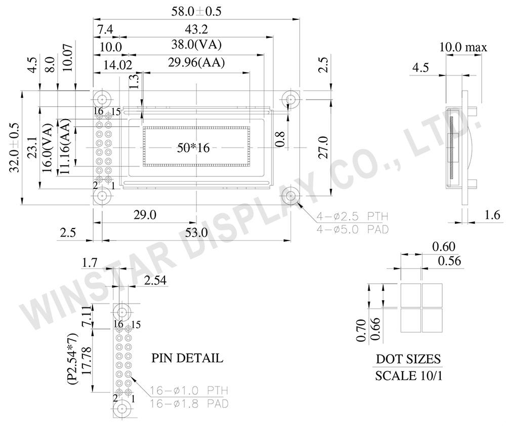 華凌型號WEG005016A 50x16 繪圖型OLED顯示器與字元型OLED WEH000802A外觀尺寸與出pins同華凌STN標準品WH0802A均為 58.00 x 32.00 mm, 可視區尺寸為 38.00 x 16.00 mm。客戶如果原來使用STN LCD 08x02顯示器,可以直接改用WEG005016, 只需要作小幅度的PCB layout修改,此款OLED 有綠光/黃光/白光/藍光/紅光等五種顏色可供選擇。此型號OLED模組尺寸小、重量輕、低功耗。WEG005016A OLED顯示器