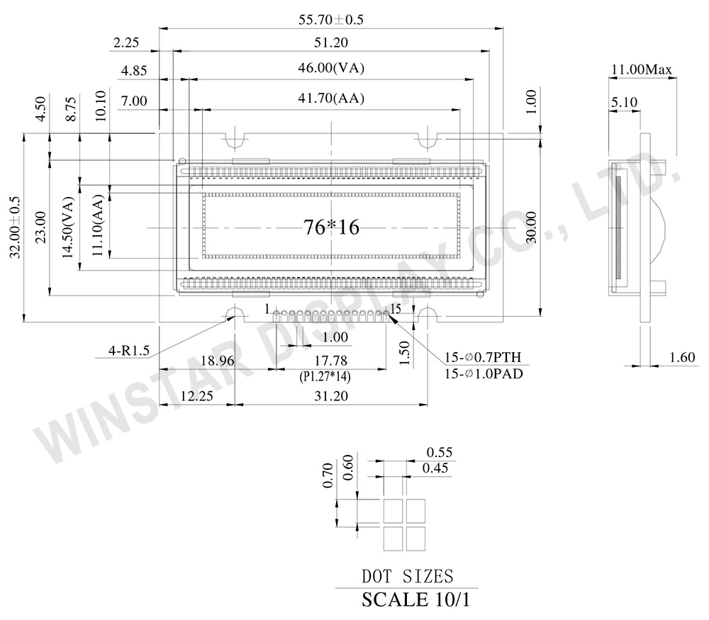 "1.7"" OLED, OLED Small Display, OLED 76x16 - WEG007616A"