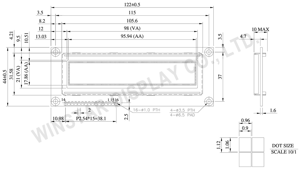 "100x16, 3.84"", COB OLED Display Module - WEG010016J"
