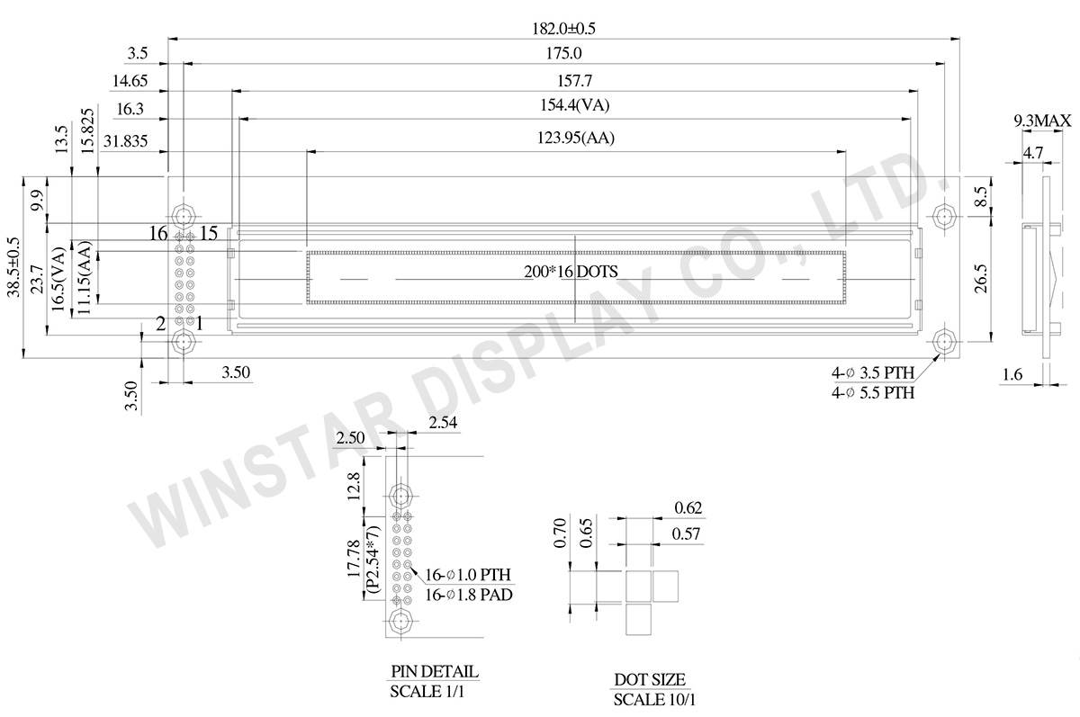 WEG020016A - 4.9 inch OLED Graphic Display 20x16 Drawing