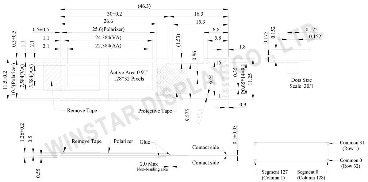 OLED 128x32, 128x32 OLED Display, 0.91 inch OLED - WEO012832D