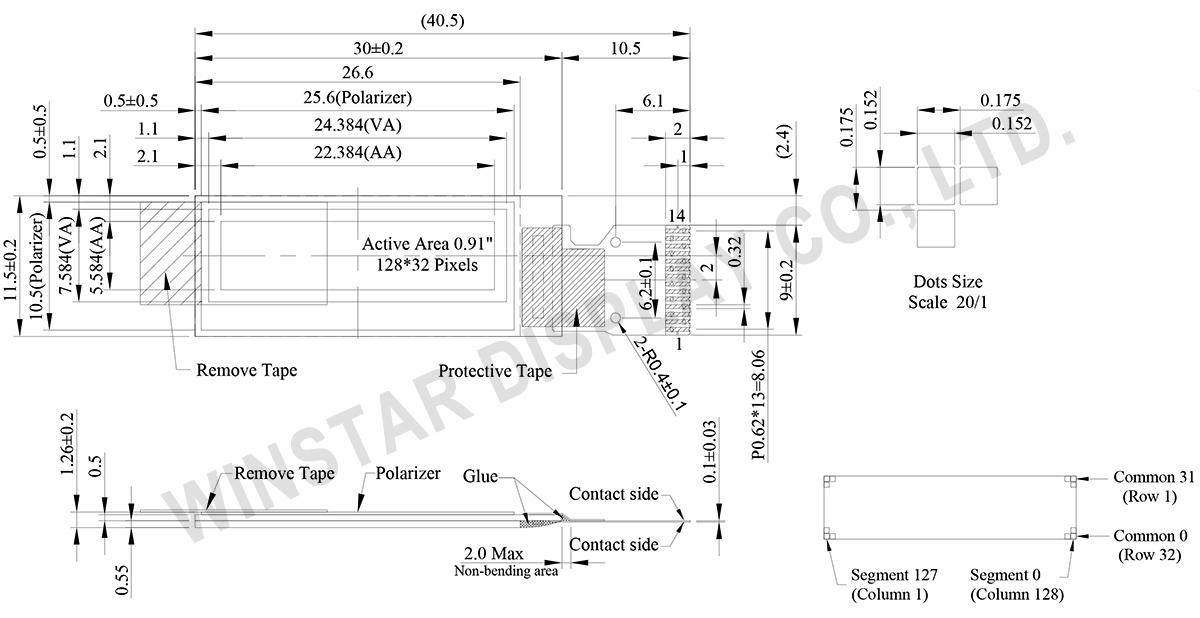 Winstar 0.91,OLED I2C, OLED I2C Display - WEO012832F